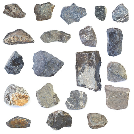 Twenty rocks isolated on white  background Foto de archivo