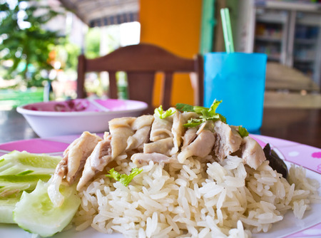Thai food gourmet steamed chicken with rice , khao mun kai photo