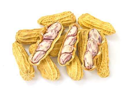 goober peas: Boiled peanuts on white background