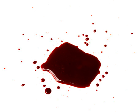 Blood drip on white background photo
