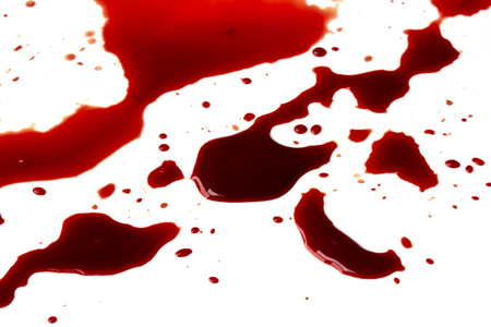 bloodstain: Blood stains (puddle) isolated on white background.