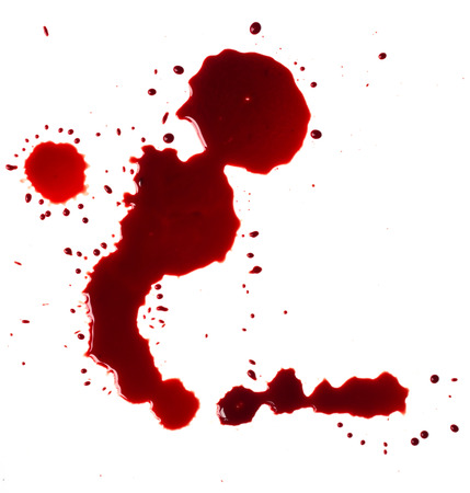Blood stains (puddle) isolated on white background. Stock Photo
