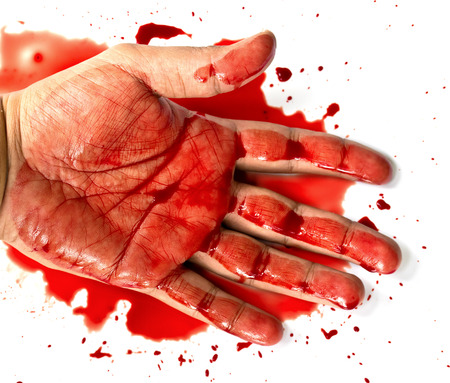 Hand in blood on a white background photo