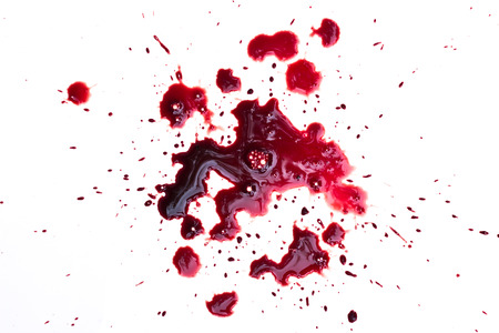bloodstain: Blood drip on white Stock Photo