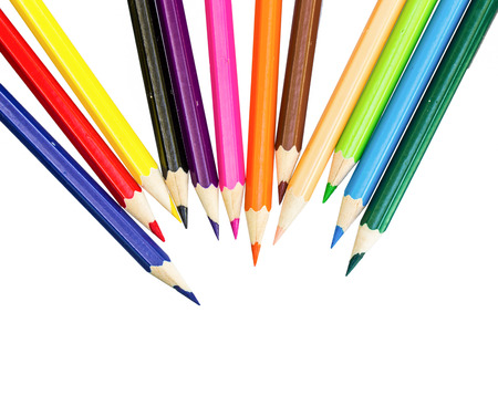 color white: Close up de l�pices de colores con diferente color de fondo blanco Foto de archivo