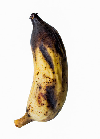 overripe: Over ripe banana on white background Stock Photo
