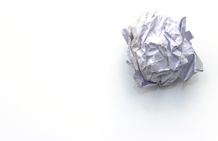 scrunch: Crumpled paper ball on white background Stock Photo