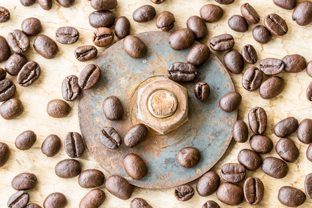 jamoke: Coffee bean and nuts on grunge wooden background