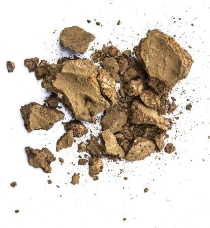 白い背景の上の土壌