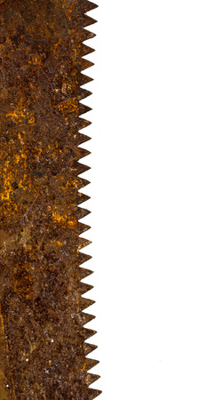 saw blade: rusty saw blade on white background