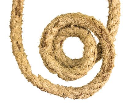 gyrus: Jute rope on white background