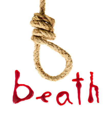 Noose and bloody letters as a symbol of death photo