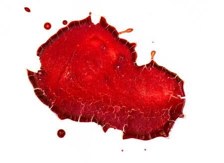 bloodstain: dry blood on  white background Stock Photo