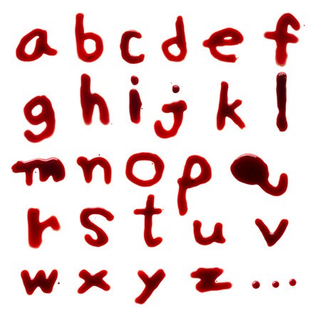 az: Letters A-Z (English lowercase) dripping with blood on white background