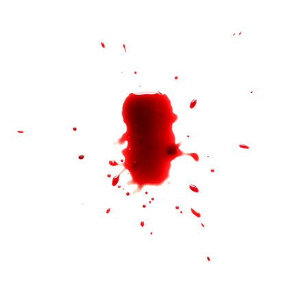 drop of blood: drop of blood isolated on white background close up