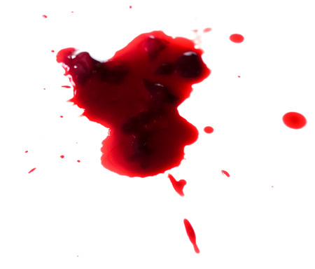bloodstains: drop of blood isolated on white background close up