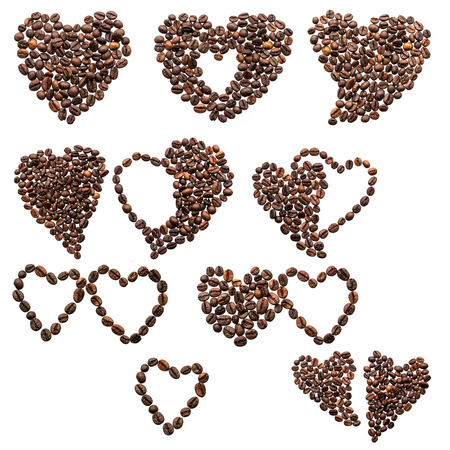 Ten of hearts from coffee beans on a white background photo