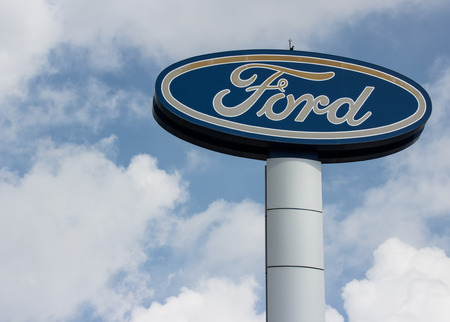 automaker: BANGKOK-JUNE 16. Ford signage. Founded by Henry Ford, June 16, 1903, Ford is the second largest U.S. based automaker, fifth-largest in the world based on 2010 vehicle sales. Bangkok, June 16, 2015.