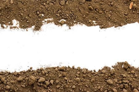 白い背景の上の汚れた地球は。自然土壌テクスチャ 写真素材