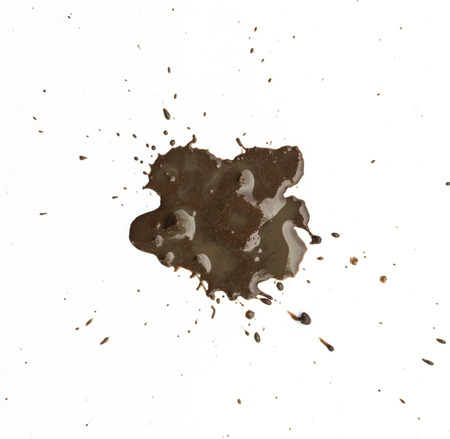 splattered: Splattered mud with drip pattern on a white background