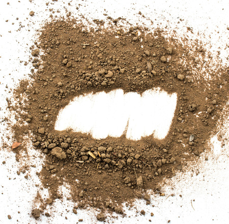 dirty environment: Dirty earth on white background. Natural soil texture Stock Photo