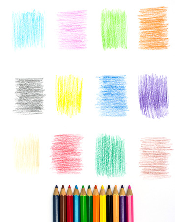 pencil drawings: Color pencil and Set of color pencil design elements