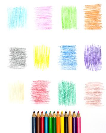 lapiz y papel: Lápiz de color y Conjunto de elementos de diseño del lápiz del color Foto de archivo