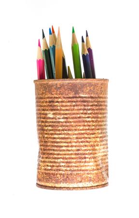 color pencils: color pencils in rusty tin can