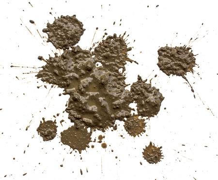泥の滴スプレー ホワイト バック グラウンド
