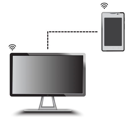 tv led: LED TV and smartphone connecting for transfer data Illustration