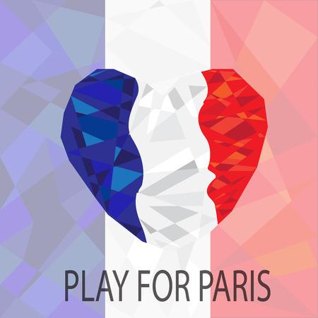 the european economic community: Heart polygon on Stylized polygonal flag of France Background Illustration