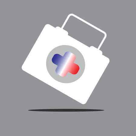 care providers: Physician or doctor bag flat icon for France Illustration