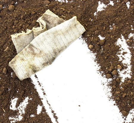 tidiness: rag wiping a soil on white background