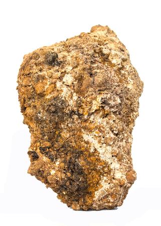 ore: Laterite on a white background. (aluminum ore) Stock Photo