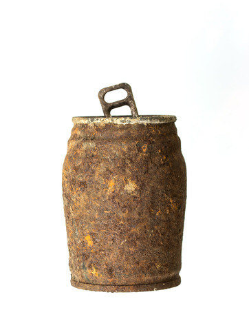 unhygienic: Rusty can on white background