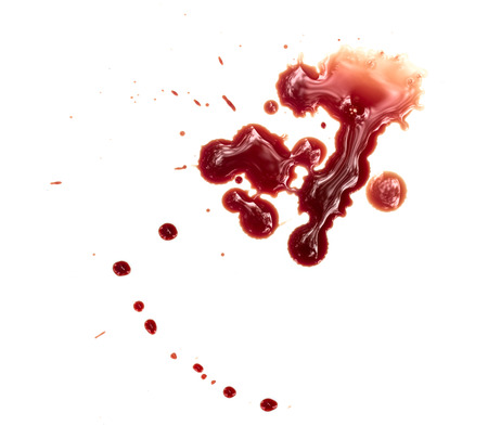 a wound: Blood stains on white background Stock Photo