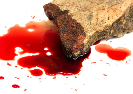 csi: Brick and blood on white