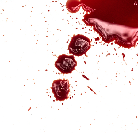 gash: Blood stains on white background Stock Photo