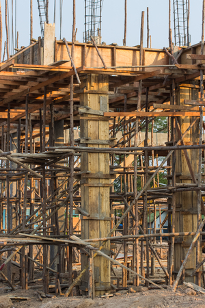 site preparation: construction site of concrete building with wooden frames Stock Photo