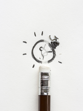 eliminating: pencil erasing idea, with pieces of rubber