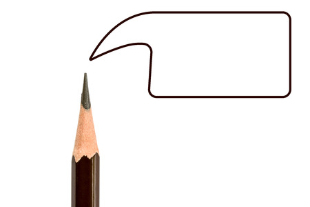 pencil point: Pencil point close-up and text box on white background