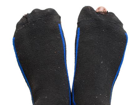 fu�sohle: Loch in schwarze Socke und Peep Toe Lizenzfreie Bilder