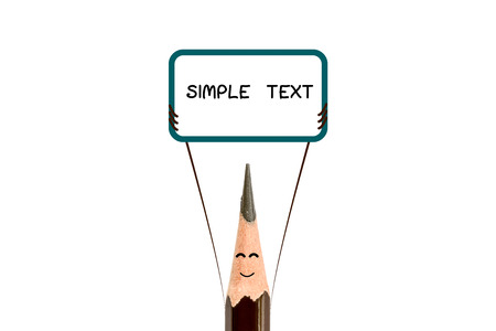 text box: Pencil point close-up and text box on white background