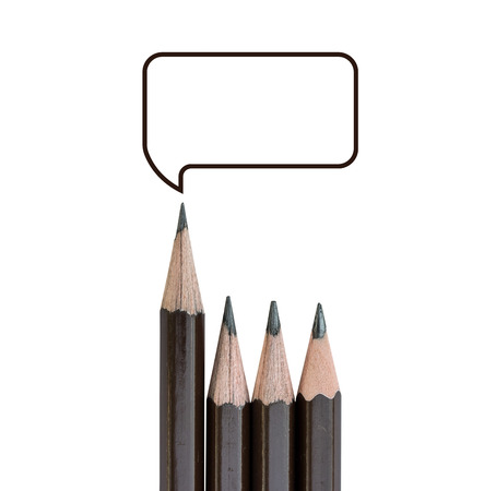 supervise: pencil standing out and text box from the row of pencils. Stock Photo