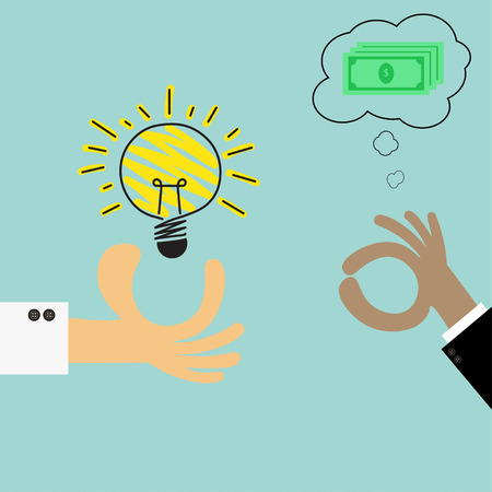pick light: Thinking to have money.The concept of business The light bulb represents an idea. Illustration