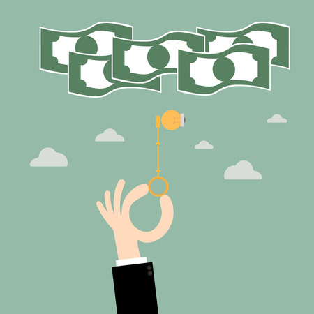 unlocking: Keys ideas bulb unlocking money.Key To Success. Business Concept Illustration. Illustration