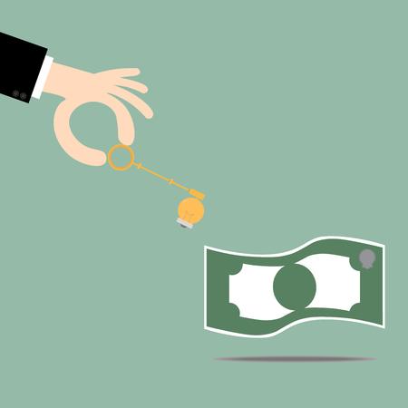 security lights: Keys ideas bulb unlocking money.Key To Success. Business Concept Illustration. Illustration