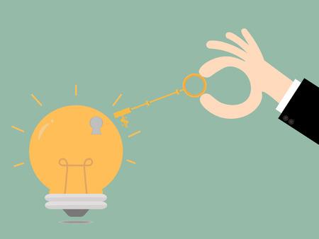 unlocking: Keys unlocking ideas bulb.Key To Success. Business Concept Illustration.