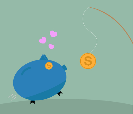 stimulus: Fishing rod with a bait coin and piggy bank.Concept of financial trap.fraud or motivation concept. Commercial, financial, marketing metaphor