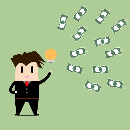 ビジネスマンを取得のアイデアは、お金を得る。ビジネス コンセプトの漫画イラスト。